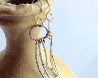 Hammered sterling silver dangle earrings
