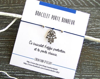 Bracelet BFF Best Friend forever Hamsa - bracelet cord with personalized card - Creation of sparkle