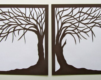 2 Trees Of Life Silhouette Paper Cut in Brown Over White ORIGINAL FRAMED & Signed Wall Art Home Décor Handmade One Of A kind