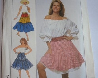 1980s skirt sewing pattern in 3lengths Misses Size AA Petite-Large, Uncut Pattern, Original Complete, Simplicity Christie Brinkley Fashion