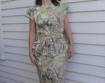80s Safari Peplum Dress Carol Anderson Petites 1980s Vintage S