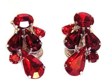 Austria Vintage Red Clip Earrings