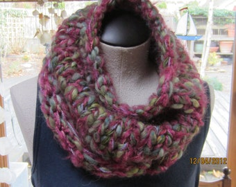 hand knit super soft and cozy neckwarmer in berry blend