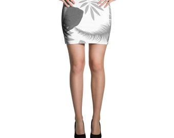 Tropical Leaves BW, Mini Skirt