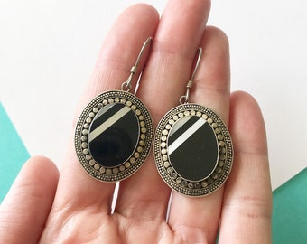 Balinese Sterling Silver Onyx and MOP Inlay Earrings