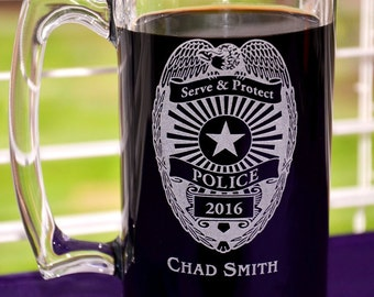 Personalized Police Officer/Sheriff Glass Mug, Law Enforcement Retirement Gift, Custom Cadet Graduation Gift, Thin Blue Line