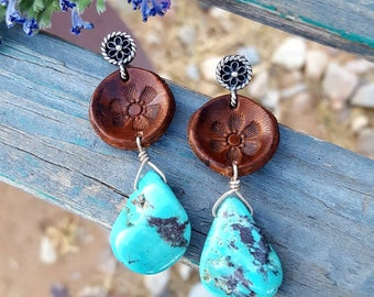 Turquoise and Leather Earrings -  Sleeping Beauty - One of a Kind - Flowers - Hand Tooled Leather - Sterling Silver -  Cowgirl Jewelry