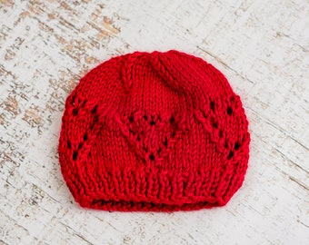 Eyelet Heart Hat for Newborn-to-Toddler