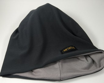 Grey Beanie, unisex reversible 4 in 1, plain silver on one side, solid gray charcoal the other