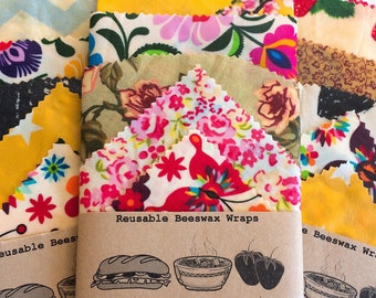 Large Set of 5 100% Natural Beeswax Food Wraps , lucky dip fabric , Zero Waste