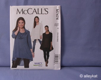 McCall's Pattern M7474, Misses' Tunics, Nancy Zieman, Sizes XS, SM, MED, New