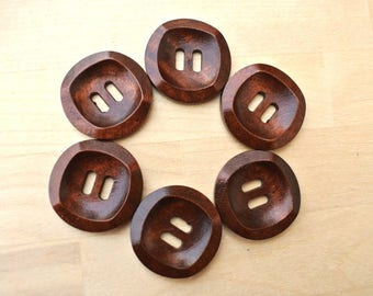 6 Wood  buttons NEW BUTTONS retro vintage style 30mm, dark brown