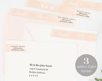 Envelope Wrap Address Label, Wraparound Label, Skinny Wrap Address, DIY Return Address Editable Address PDF Instant Download blush #SPP038wr