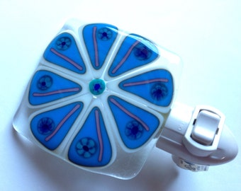 Blue, Flower, Floral, Bathroom, Fused Glass, Abstract, Night Light