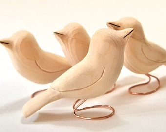 Unfinished Wood Bird Carvings Wooden Birds Summer Craft Supply Woodworking Wood Sculpture, Home Decor, Adult Craft