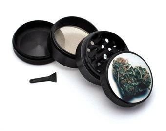 Herb Grinder - Black Aluminum Alloy Love Bud Picture Grinder