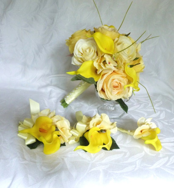 Yellow rose wedding calla lily wedding bouquet real touch