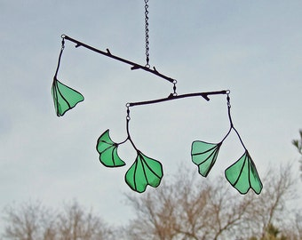Unique Wedding Gift - Ginkgo Leaf Mobile from Reclaimed Green Bottle Glass - Anniversary Gift