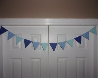 """4inch Pennant Flag Garland Blue Ombre Shades Cardstock Paper Bunting Photo Prop Backdrop Baby Shower Banner Birthday 4"""" triangles"""