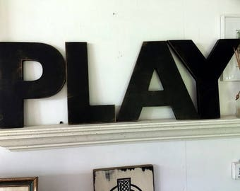 """PLAY signs,fun word signs,play wall Letters, Wood word sign.wood letters 12"""",play letters,shabby chic sign, antiqued play sign, aged signs"""