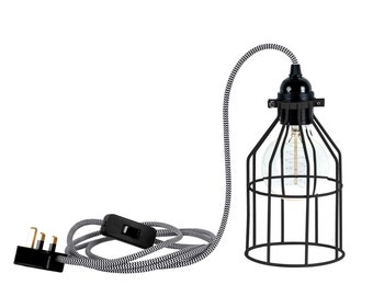 Black Metal Cage Light Industrial Chevron Cable Table Lamp Hanging Light