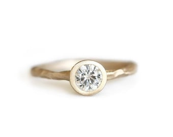 14k gold rustic carved moissanite ring, eco friendly, engagement ring, alternative diamond, ethical, wedding ring, recycled wedding ring
