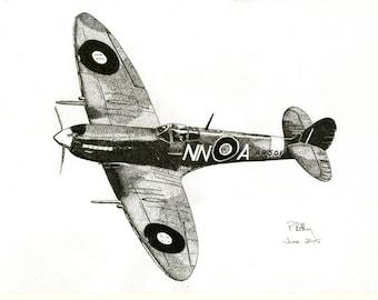Art Print - Pen & Ink Drawing, A4 - Spitfire