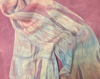 Hand Painted Bamboo Effect Silk Scarf