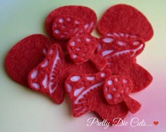 Felt Toadstools, Mixed size pack, Die Cut Craft Embellishments