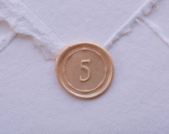 5 Wax Seal, number 5 seal, five seal, number seal