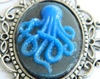 Blue Octopus Pendant Fused Glass  Octopus Pendant
