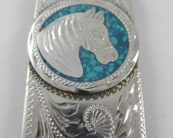 Horse Money Clip Stainless Steel Faux Turquoise Retro 80s