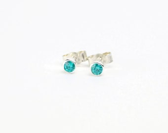 Blue Zircon Stud Earrings, December Birthstone Earrings, Sterling Silver Stud Earrings, Turquoise Crystal Earrings