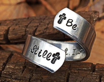 inspirational ring, faith ring, be still and know that i am God, handstamped ring, religious jewelry, confirmation jewelry