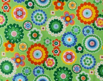 Fun Retro Flowers in Green Cotton Fabric  (Yardage Available)