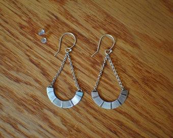 Sterling silver dangle earrings, handmade earrings, recycled jewelry, recycled vintage brooch turned earrings, chain earrings
