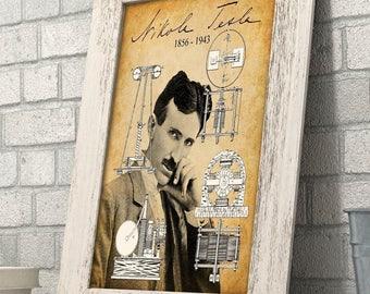 Nikola Tesla Portrait - 11x14 Unframed Art Print