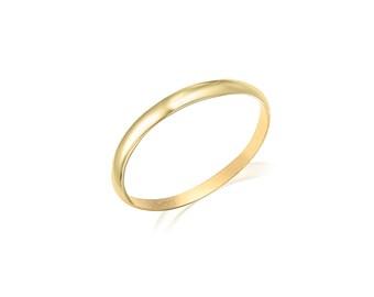 10K Solid Yellow Gold Knuckle Band Ring - Plain Round Stackable Finger Midi Thumb