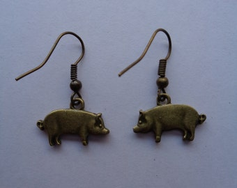 Antique Bronze coloured Pig charm Earrings
