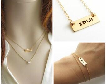 Hand gestempelt Bar Halskette oder Armband Marathon Halbmarathon römische Ziffern Sterlingsilber oder Gold füllen Läufer Marathon Halskette