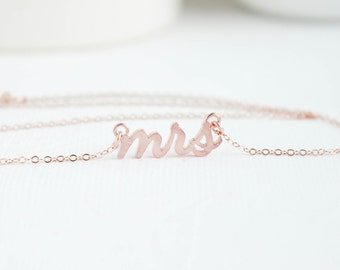 Mrs Necklace, Rose Gold Mrs Necklace, Bridal Shower Gift, Bridal Jewelry, Wedding Jewelry, Future Mrs, Mrs