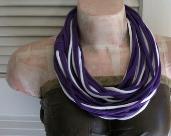 SALE Antique Purple & White Infinity Multi Strand T shirt Jersey Scarf