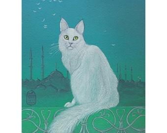 Cat art print of my original painting, Flight's Muse, white angora cat