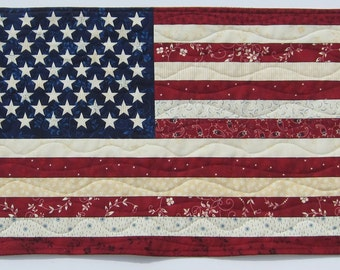 American Flag Patriotic Red White and Blue Wall Quilt or Table Topper Quiltsy Handmade