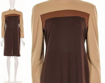 Vintage 70's Brown COLORBLOCK Dress Long Sleeve Dress Mod Dress Retro Dress Shift Dress Medium