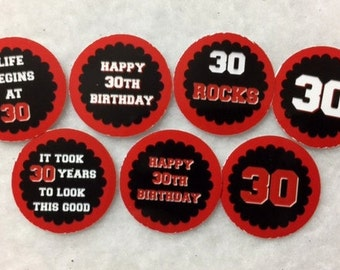 Set Of 50/100/150/200 Personalized 30th Birthday Party Red 1 Inch Circle Confetti