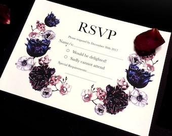 RSVP Wedding Cards in Dark Bloom