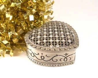 Pewter Trinket Box Heart Shaped Lattice  top Keepsake Ring Box