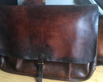 Vintage Rare XL Bona Allen 1942 Leather Mail Bag -  US Postal Saddlebag Messenger Navy