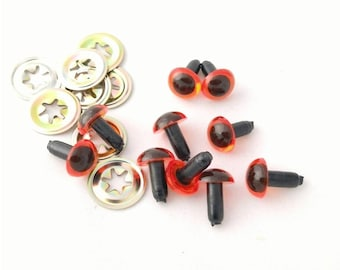 5 x pairs of 7.5 mm Amber Safety Eyes with Metal Washers